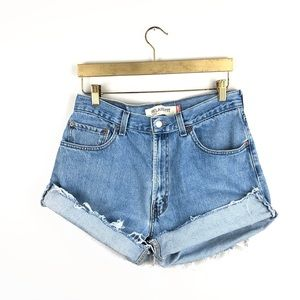 DIY Levi's 550 • Frayed Denim Cutoff Shorts.